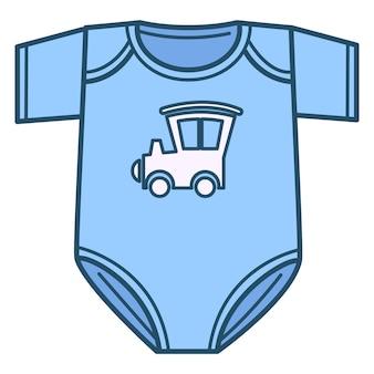 新生児用の服、機関車や車のプリントが付いた青いボディスーツの孤立したアイコン。子供のためのボーイッシュな服とアパレル。小さな子供向けの服、赤ちゃん向けのファッションとスタイル。フラットのベクトル