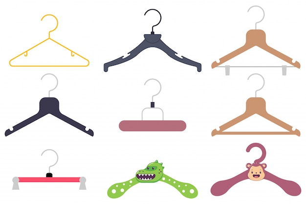Clothes hanger cartoon icon set.