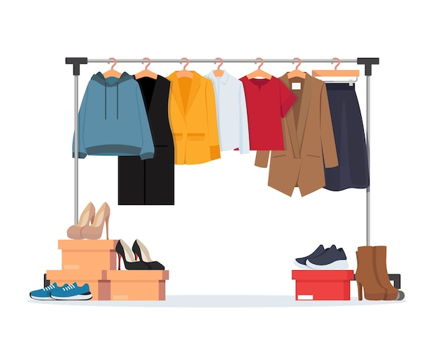 Вешалка для одежды с различной повседневной женской одеждой, обувью. гардероб. иллюстрация в плоском стиле.