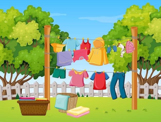 Одежда висит во дворе