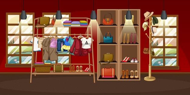 Clothes hanging on a clothes rack with accessories on shelves in the room scene