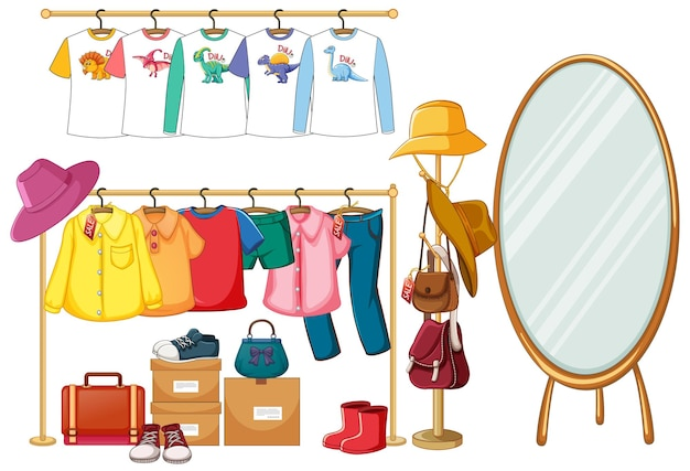 Clothes hanging on clothes rack with accessories on white background