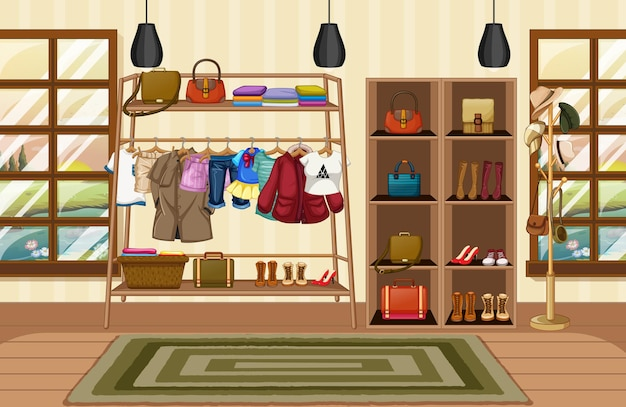 Clothes hanging on a clothesline with accessories on shelves in the room scene