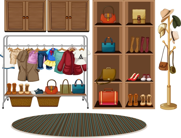 Clothes hanging on a clothesline with accessories on shelves on white