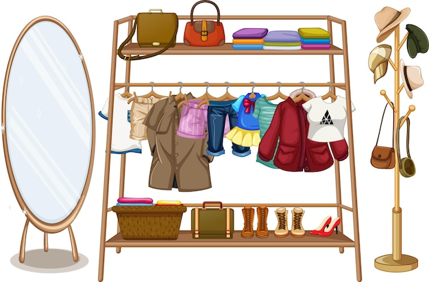 Clothes hanging on a clothesline with accessories on white background