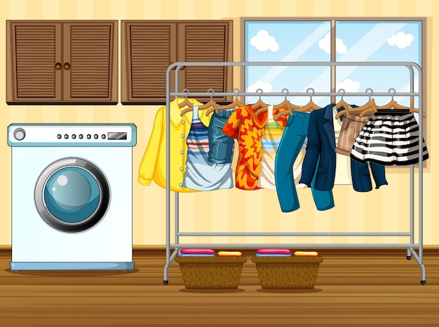 Clothes hanging on a clothesline with washing machine in the room scene