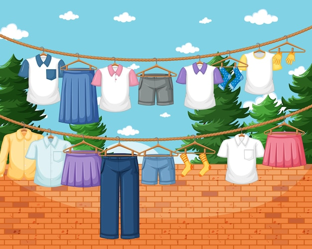 Clothes hanging on line in the yard