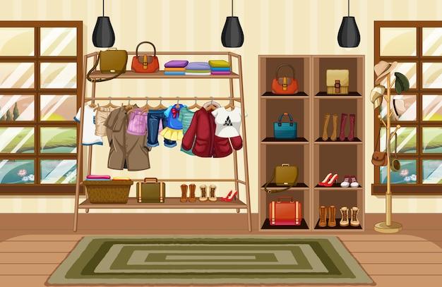 Одежда, висящая на бельевой веревке, с аксессуарами на полках в сцене комнаты
