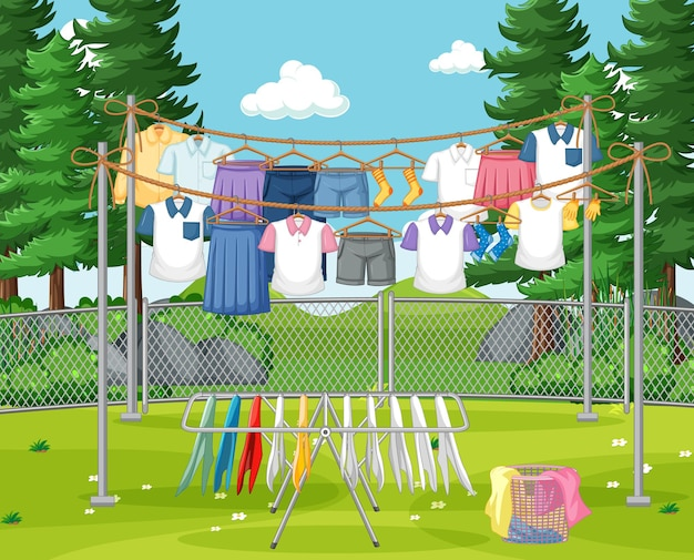 Одежда висит на линии во дворе