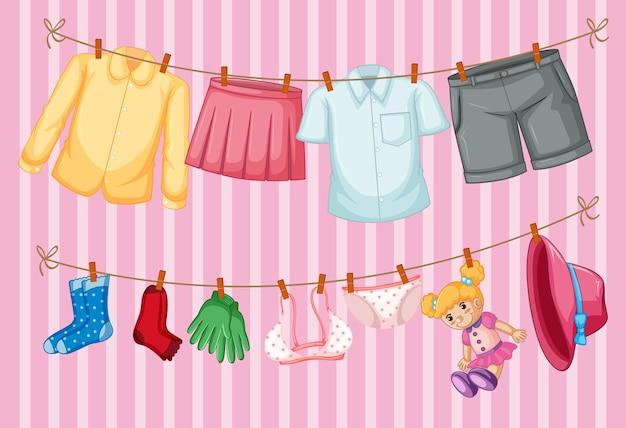 Одежда висит на розовом