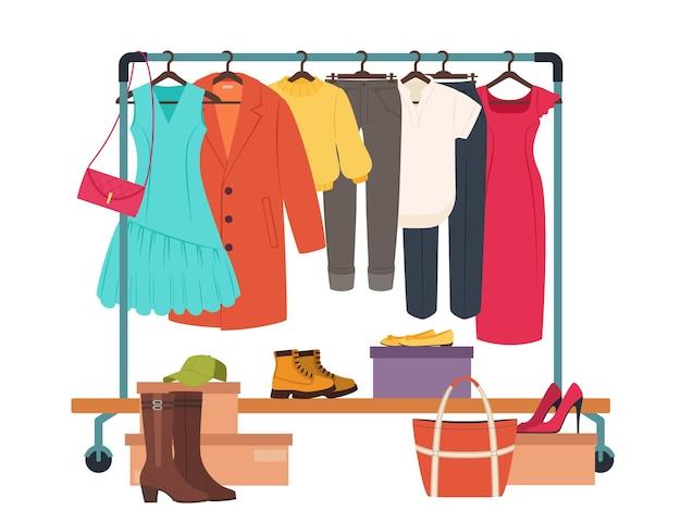 カジュアルな女性の服のファッションの女の子のワードローブのベクトルの概念とラックの衣服のレールにぶら下がっている服