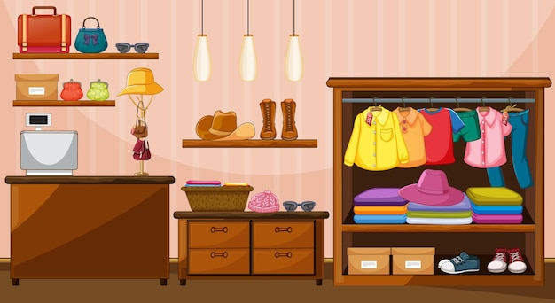 Clothes hanging in wardrobe with many accessories in the room scene