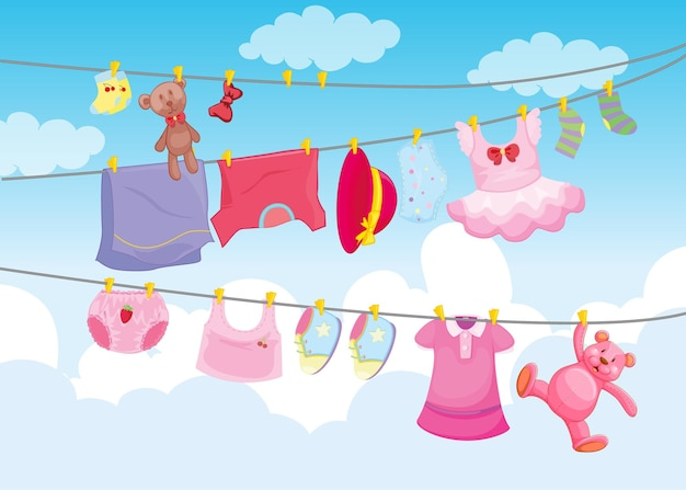 Clothes hanging with sky background