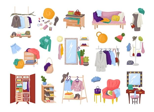 ワードローブルームの服、ファッションドレスのクローゼット、孤立したのセット。モダンな服、シャツ、アクセサリーを備えた家具。家庭用衣類の混乱または注文。ホームテキスタイルアパレルストレージ。