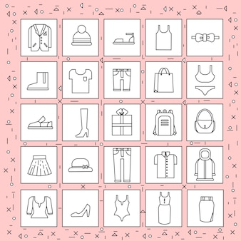 Предметы одежды набор иконок тонкая линия на абстрактном розовом фоне