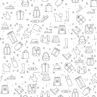 Clothes items on white background seamless pattern thin line