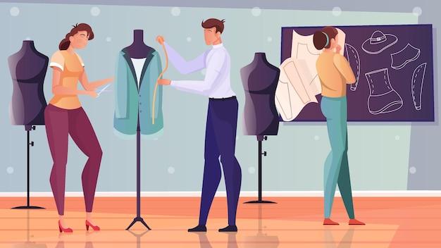 Плоская иллюстрация моделирования одежды с модельерами, разрабатывающими новые модели ткани