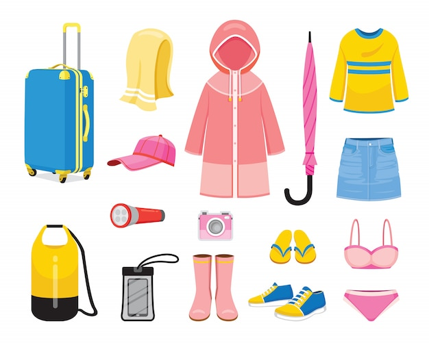 Clothes and necessities for rainy season travel trip