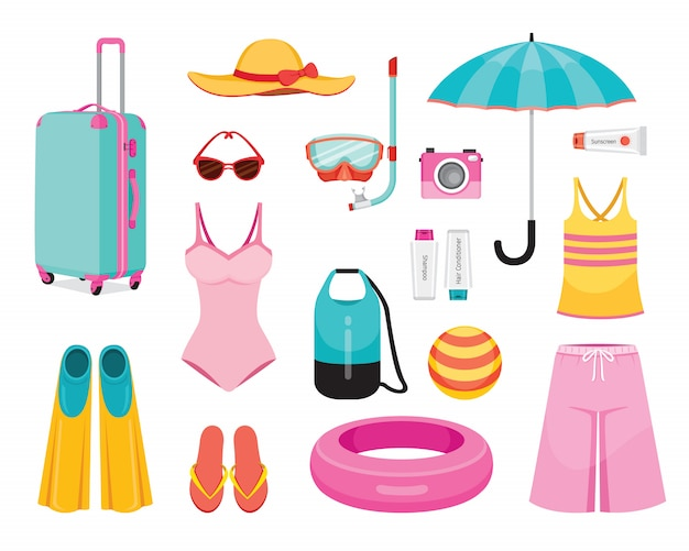 Clothes and necessities for summer season travel trip