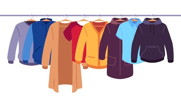 Одежда на вешалках. хранение мужской и женской одежды на вешалках, одежда висит на стойке, концепция вектора внутреннего пространства шкафа плоская. куртка и пальто с капюшоном и футболка, свисающий пуловер