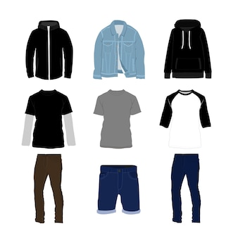 Clothes and pants fashion style item illustration set