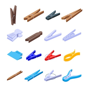 Clothes pins icons set
