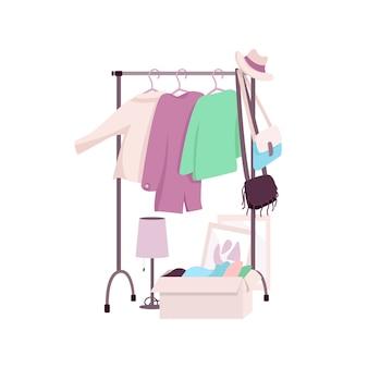 Вешалка для одежды плоский цветной объект. женский гардероб. перепродажа. подержанный. никаких отходов. подержанная и переработанная одежда, изолированных иллюстрация шаржа для веб-графического дизайна и анимации