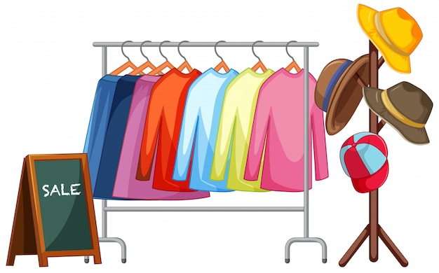 A clothes rack on white background