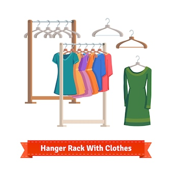 Clothes rack with dresses on hangers