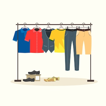 Clothes racks with menswear on hangers