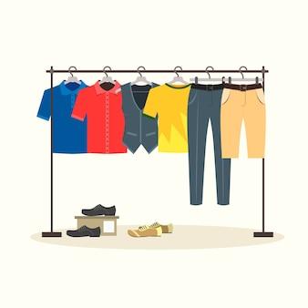 Вешалки с мужской одеждой на вешалках