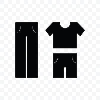 透明な背景に服シャツとパンツのアイコンベクトルイラスト。