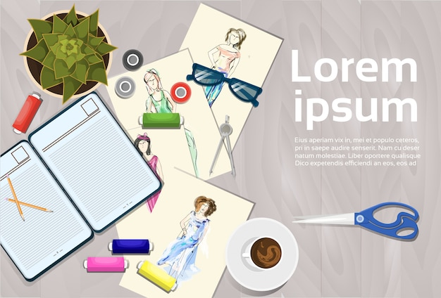 Clothes sketches on fashion designer working table top angle view dressmaker workplace concept