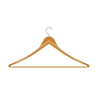 分離されたジャケットパンツのための服の木製ハンガー。平らな