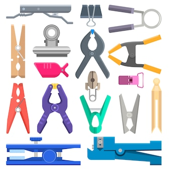 Clothespeg clothes-pin and office clamp clip holding tool pin for laundry illustration set of household clothes-peg isolated on white background