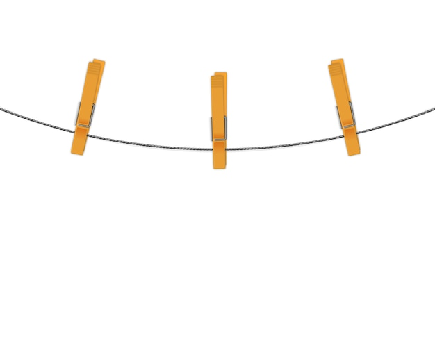 Clothespins on rope vector background