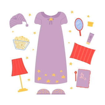 Clothing and accessories for a pajama party isolated on white background vector illustration flat