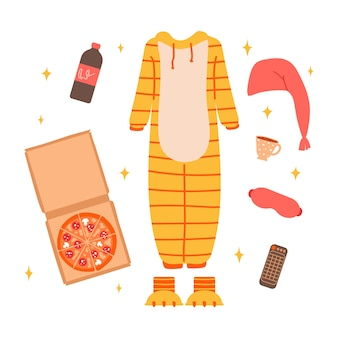 Clothing and accessories for pajama party isolated on a white backgroundvector illustration in flat
