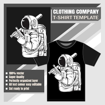 Clothing company ,t-shirt template, astronaut