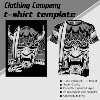 Clothing company, t-shirt template,demon handling sword