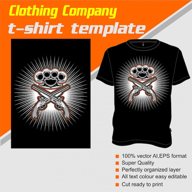 Clothing company, t-shirt template, knuckle and gun