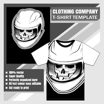 Clothing company, t-shirt template,skull wearing helmet hand drawing