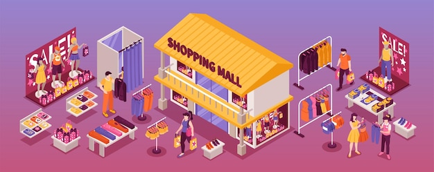 Clothing department store isometric  horizontal illustration