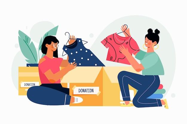 Clothing donation concept flat design