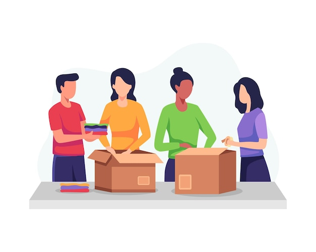 衣類の寄付のコンセプト。寄付箱と梱包服を持ったボランティア、寄付箱に服を入れる女性。衣類、再利用、中古品を寄付する人々。フラットスタイルのベクトル図