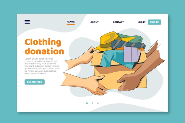 Clothing donation landing page