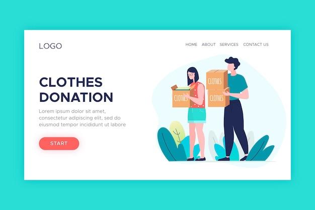 Pagina di destinazione della donazione di abbigliamento