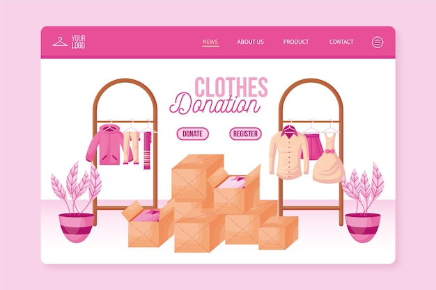 Целевая страница пожертвования одежды