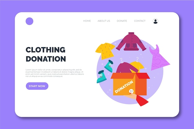 Clothing donation web landing page template