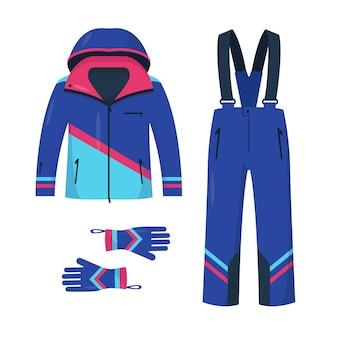 スキーやスノーボード用の服。ウィンタースポーツと白い背景で隔離の散歩のための明るいジャケット、ズボン、手袋。
